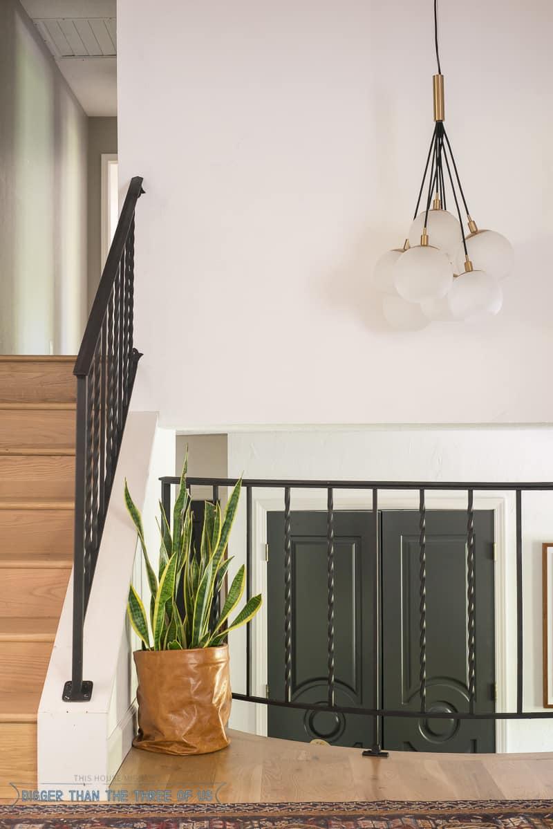 Modernized black iron railing