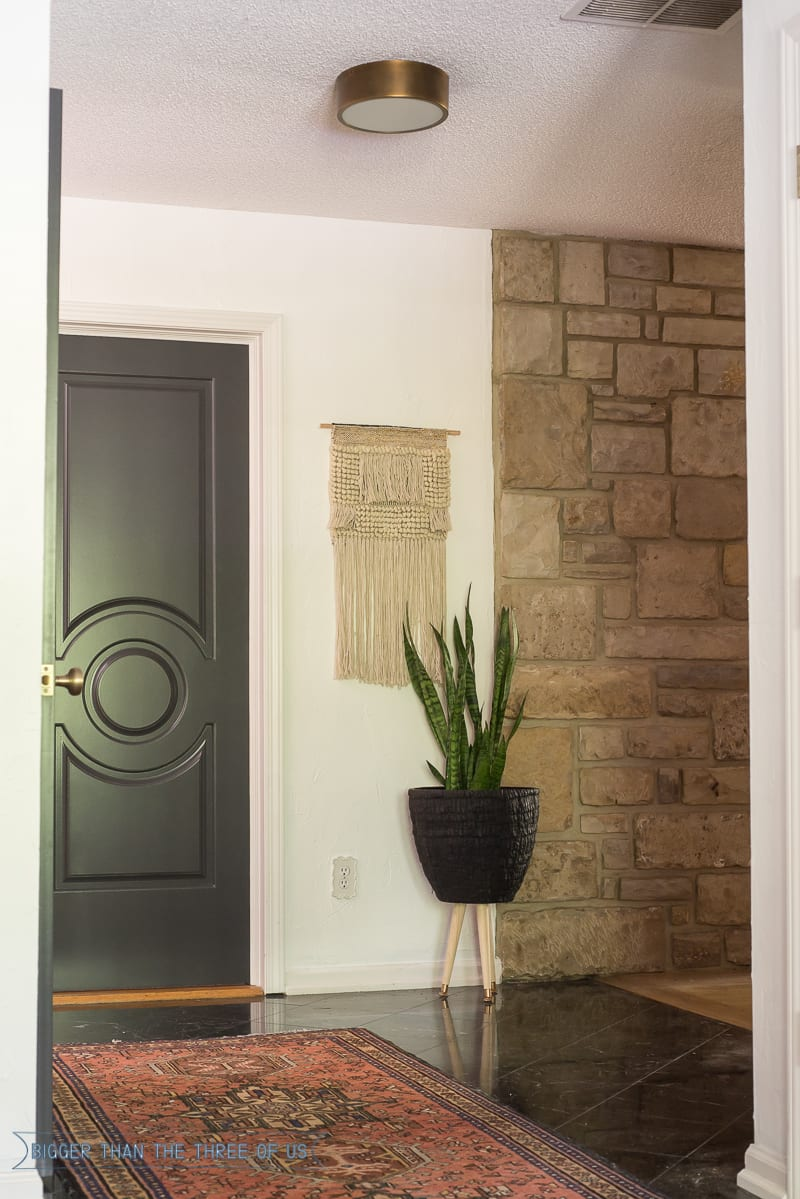 Modern Entryway with dark railing and dark doors