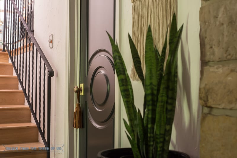 Black interior doors with brass knobs, leather tassel, wall hanging and plant