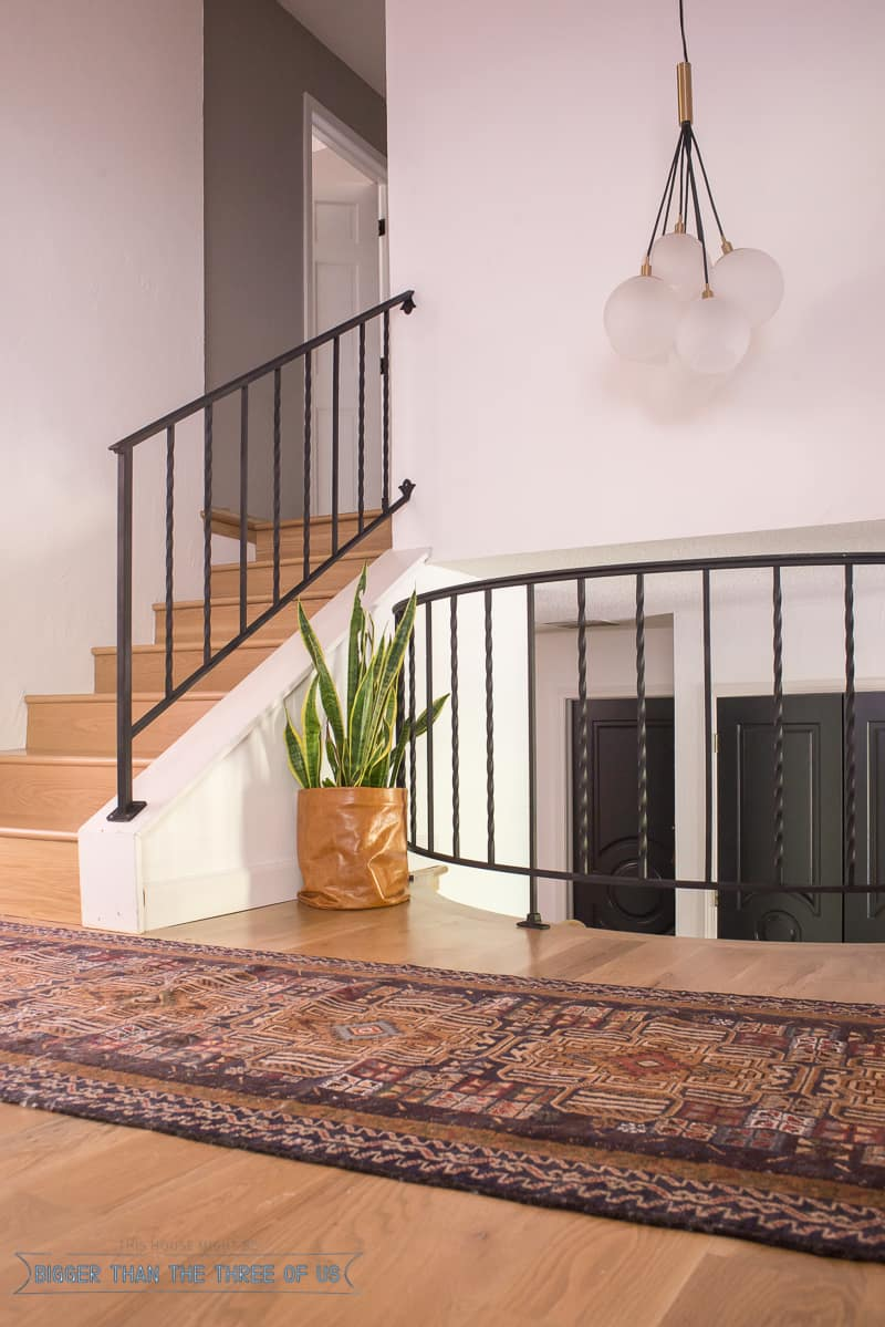 Vintage persian rug, leather DIY Planter, wood flooring and dark railing in this modern entryway