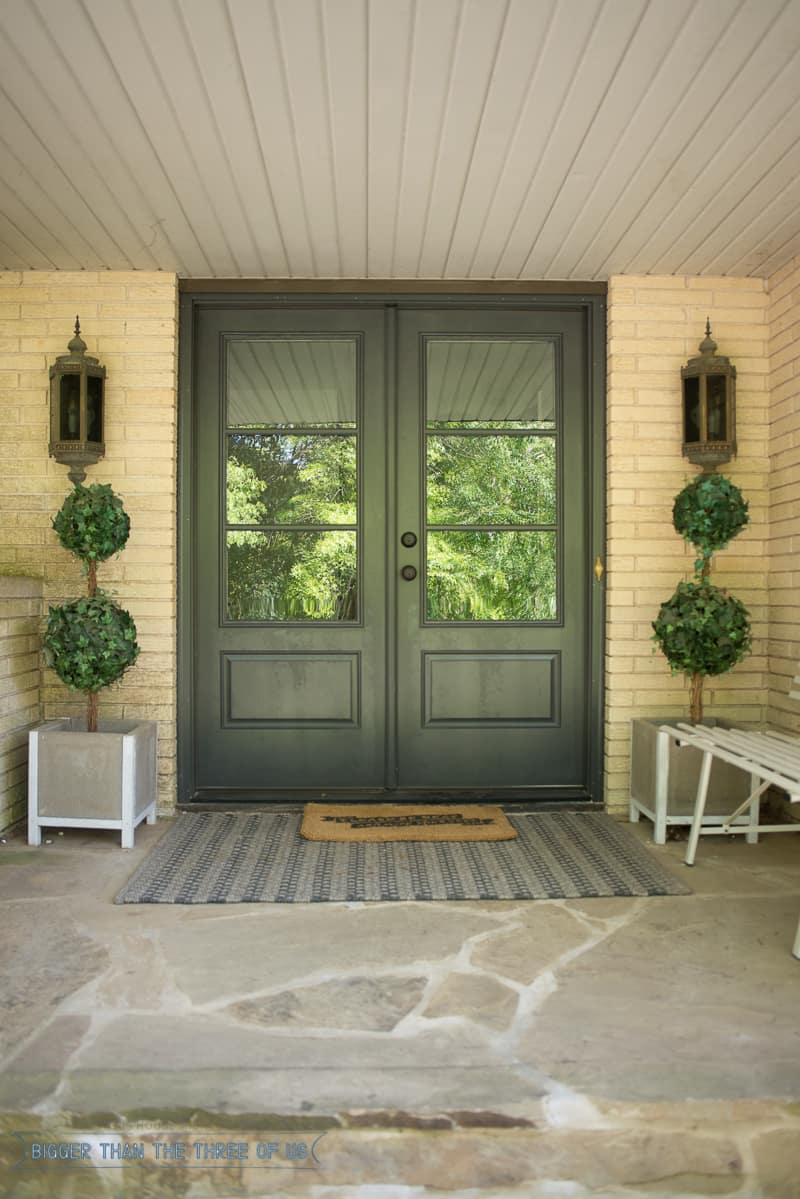 Double front doors with glass panels