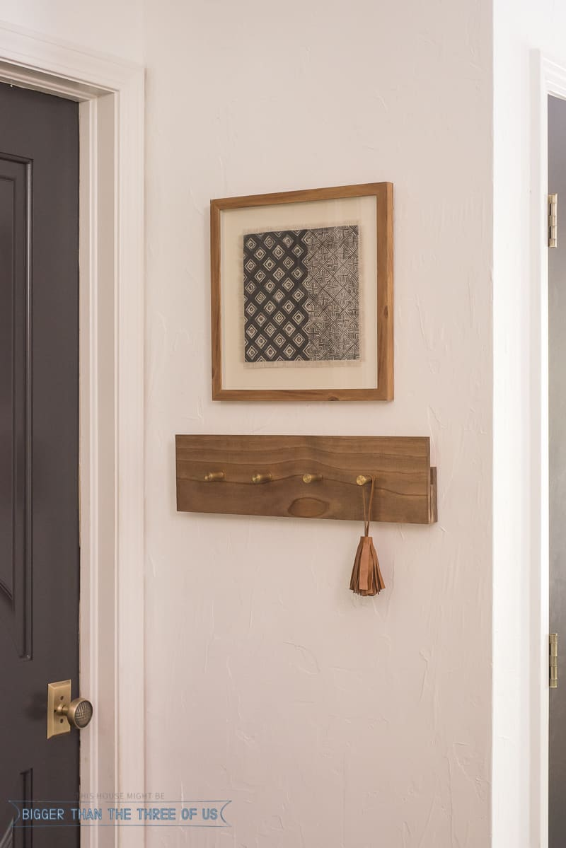 Tribal art and DIY Coat Rack with Brass Knobs