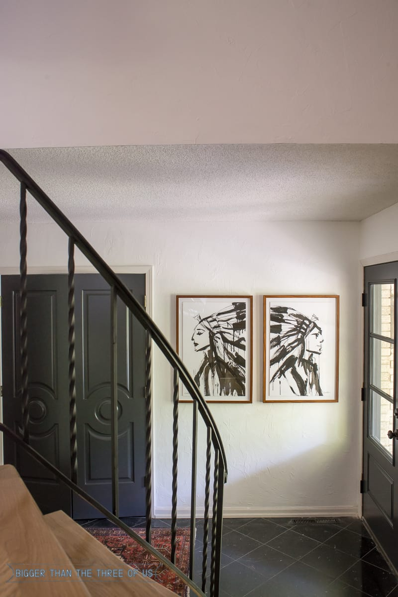 Indian Art in entryway with double front doors and a vintage persian rug