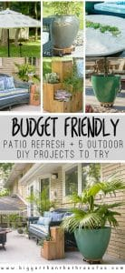 Come over and see this budget-friendly patio refresh and try these 5 DIY outdoor projects!