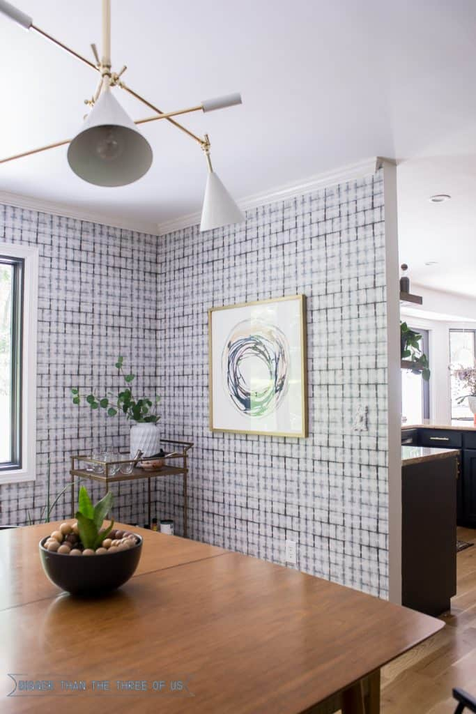Mid-Century Dining Room with Minted Art, Shibori Wallpaper and Barcart