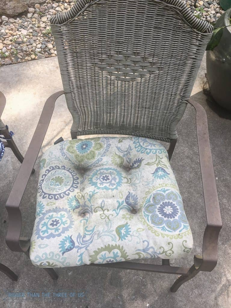 Patio Cushion Before This budget friendly patio refresh includes lots of tips and projects for updating your space on the cheap!