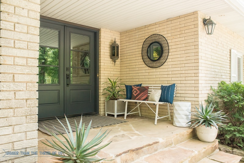 Budget Friendly Front Porch Makeover with lots of layers!