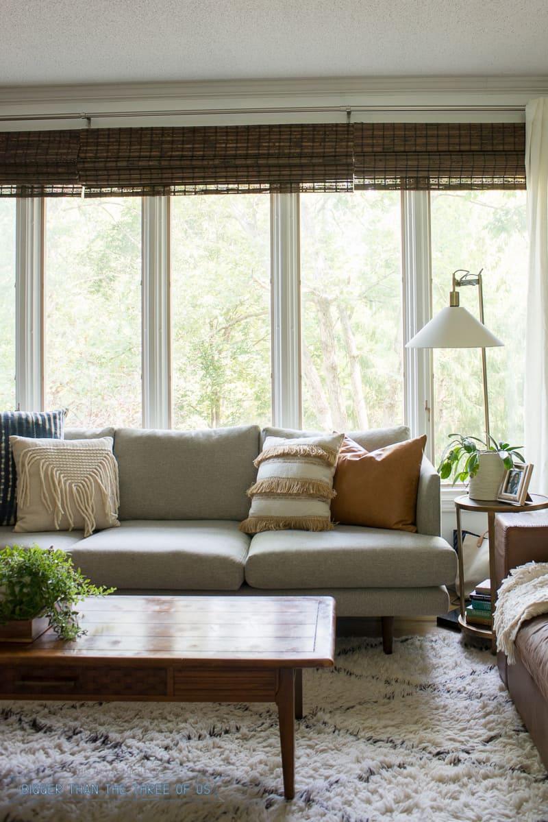 modern boho white living room with Moroccan Shag Rug, shibori pillows and more