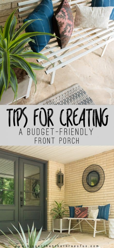 Click to see this modern, front porch and get tips for creating your own budget-friendly front porch!