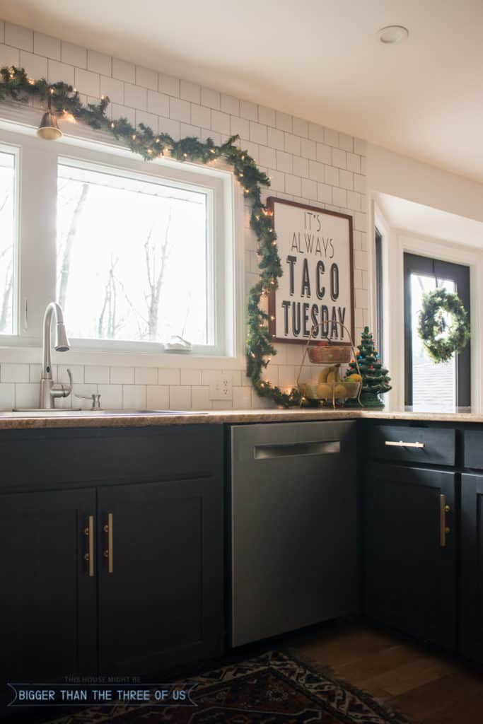 Taco Tuesday print in this Modern Home Tour decked out for Christmas.