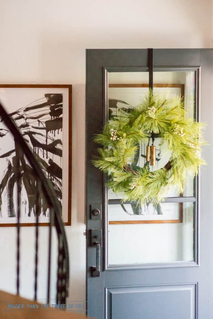 Wreath on glass doors | Christmas Home Tour