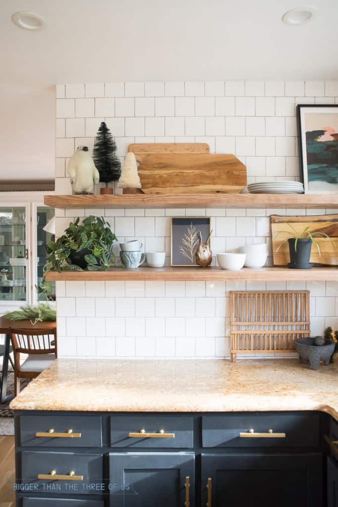 Styled shelves in kitchen