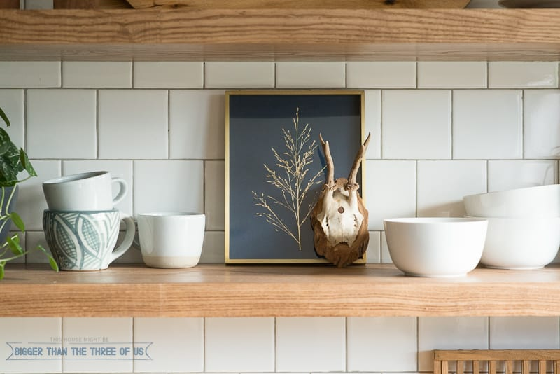 Minted Artwork on kitchen shelves