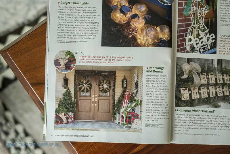 Country Sampler Christmas Front Porch Magazine Feature