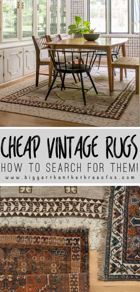 How to Search for Cheap Vintage Rugs online. Learn how to sort and find vintage rugs for cheap using these tips and tricks! #rugs #vintagerugs