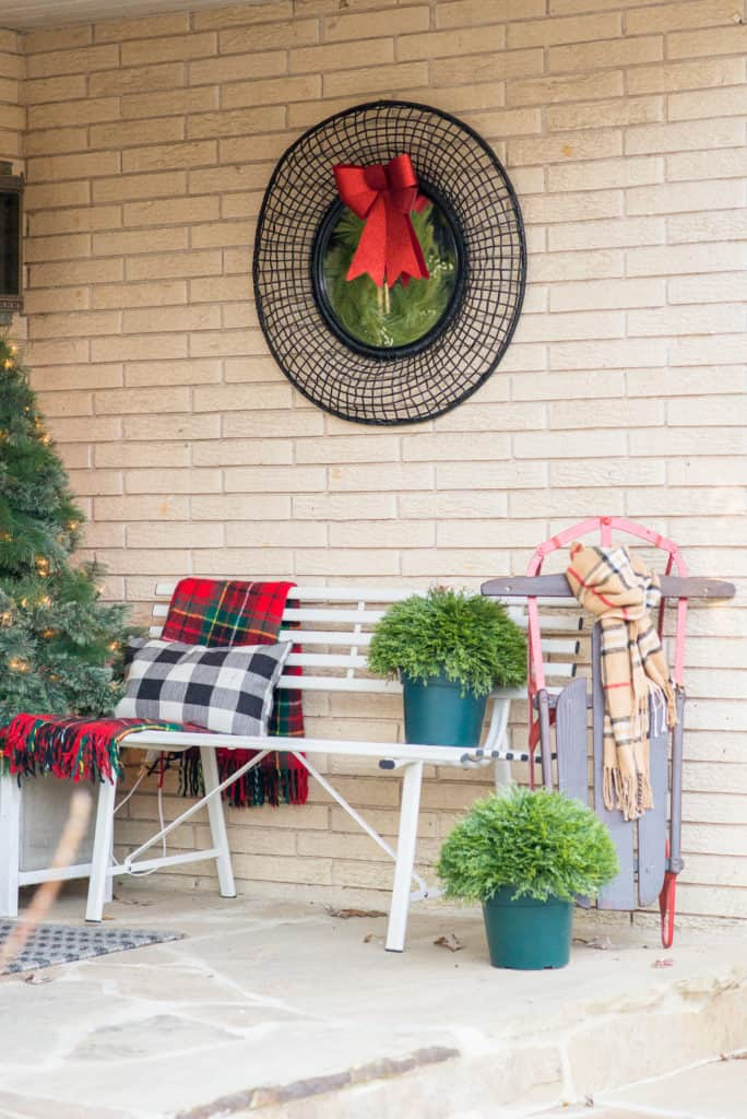 Modern Front Porch Decorated for Christmas