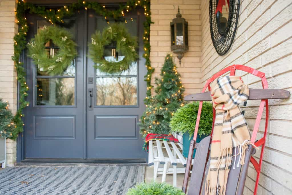 modern christmas front porch reveal - Modern Christmas Front Door Decorations