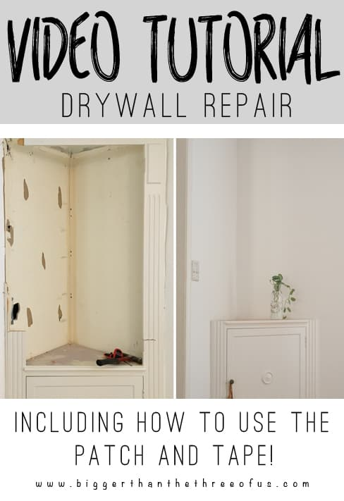 Video Tutorial for drywall repairs including how to use a drywall patch and how to use drywall tape