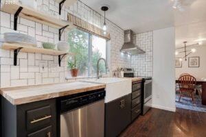 Kitchen shelving in tuxedo kitchen