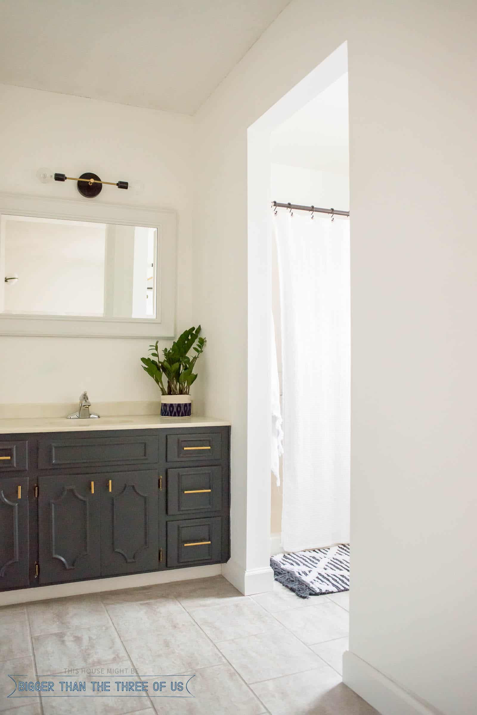 Budget Friendly Bathroom Makeover With Dark Cabinets Bigger Than - Budget friendly bathroom remodels