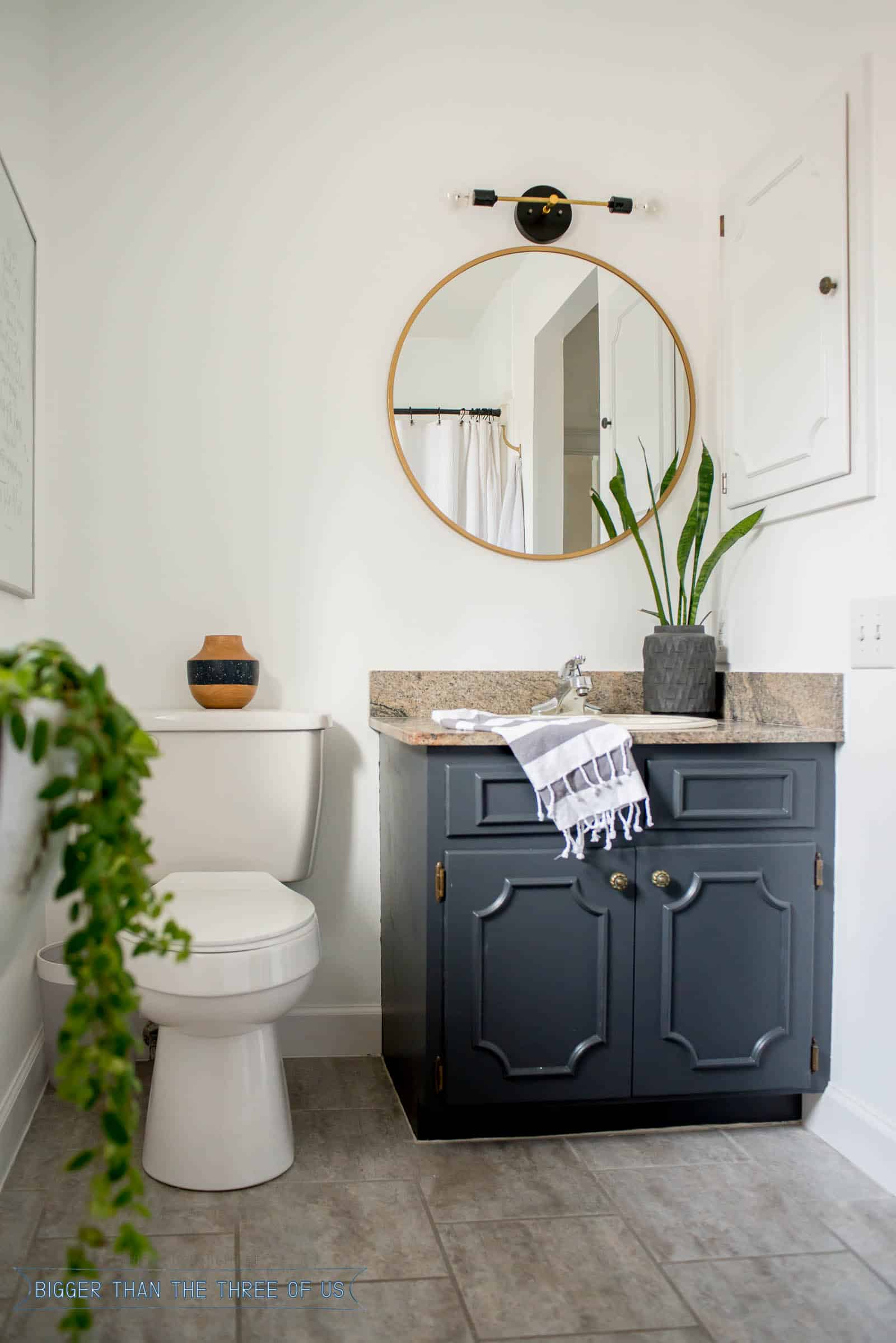 Super Budget Friendly Bathroom Makeover With Dark Cabinets 4 Of 6 Complete Home Design Collection Epsylindsey Bellcom