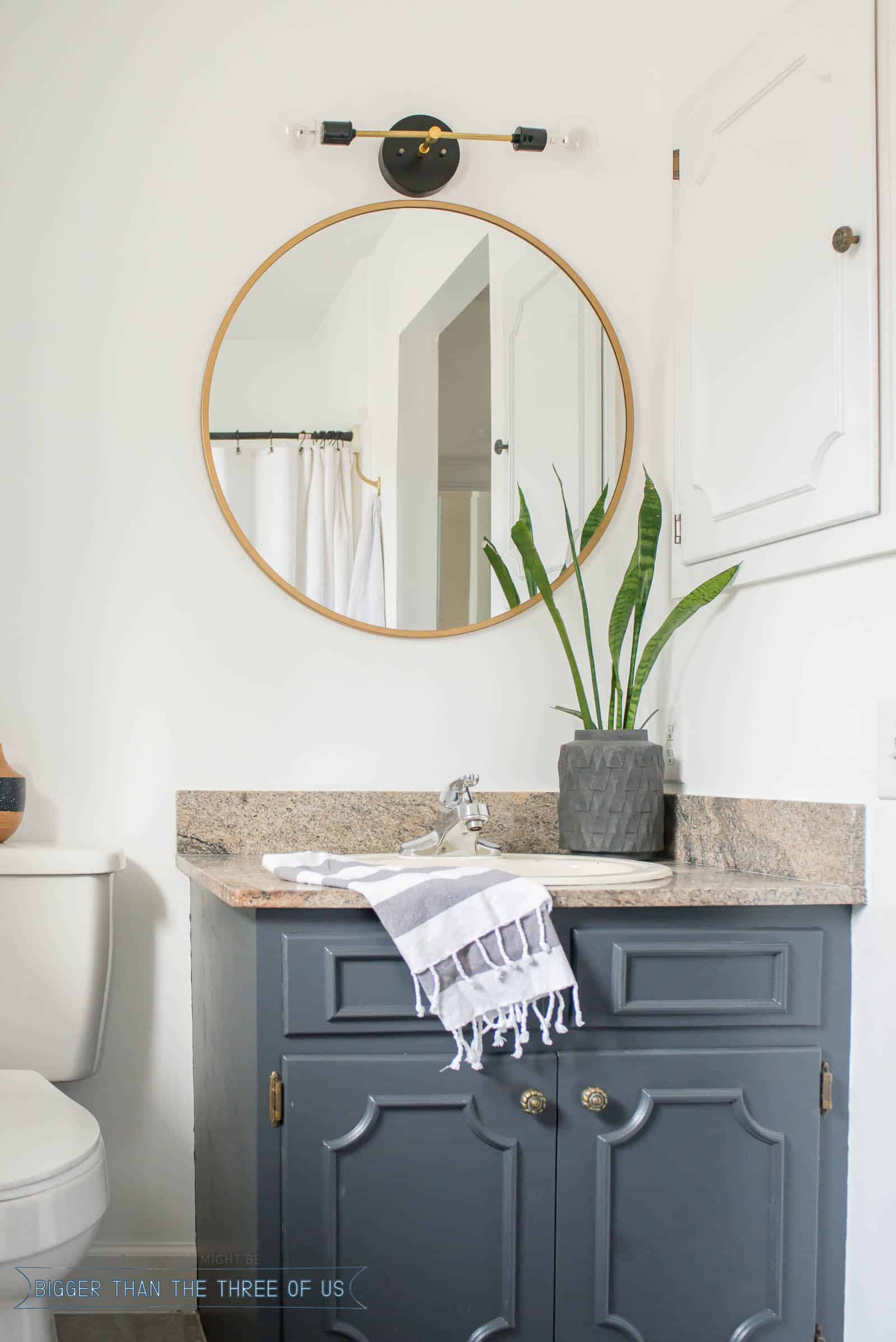 Budget Friendly Bathroom Makeover with Dark Cabinets