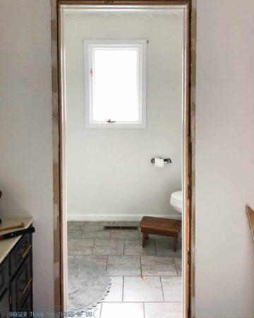 Demo day in Bathroom - Taking off door trim