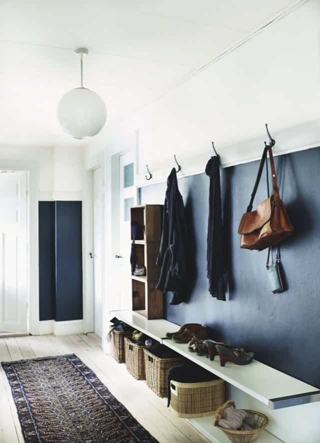Modern entryway design with organization