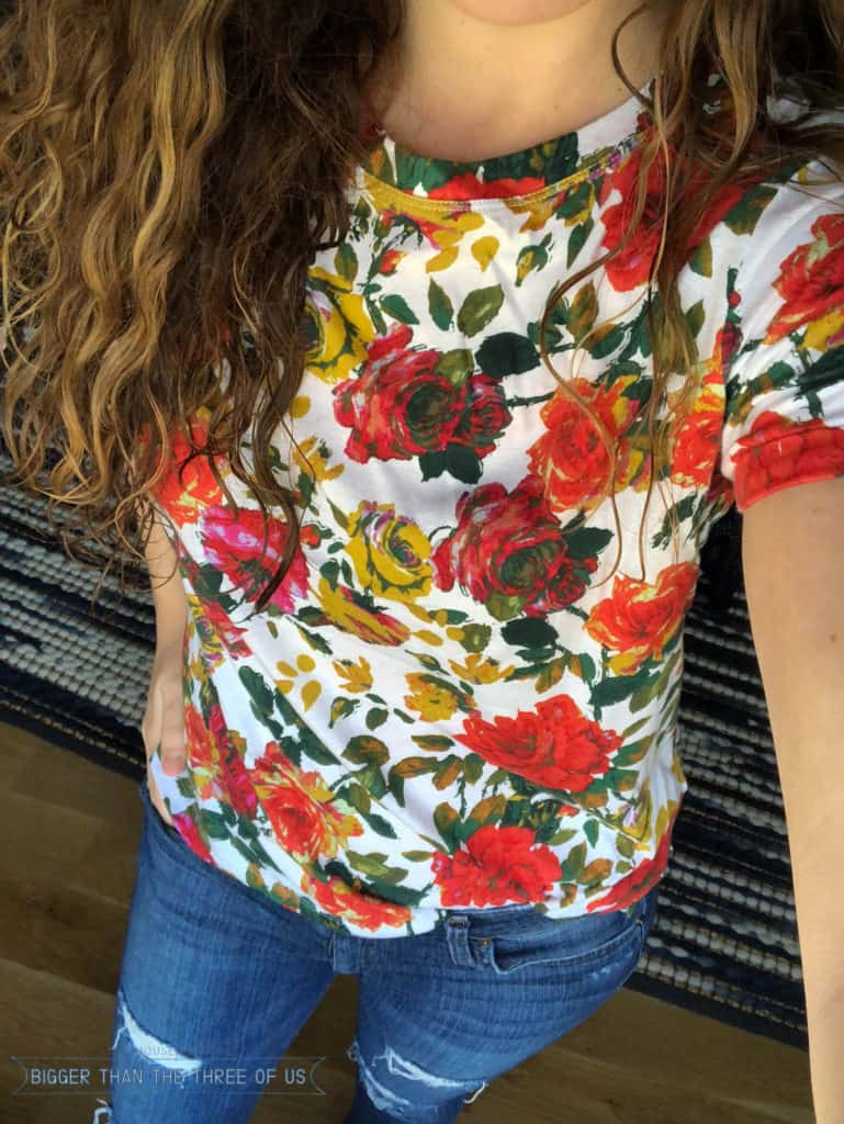Spring floral teeshirt that fits a tall girl