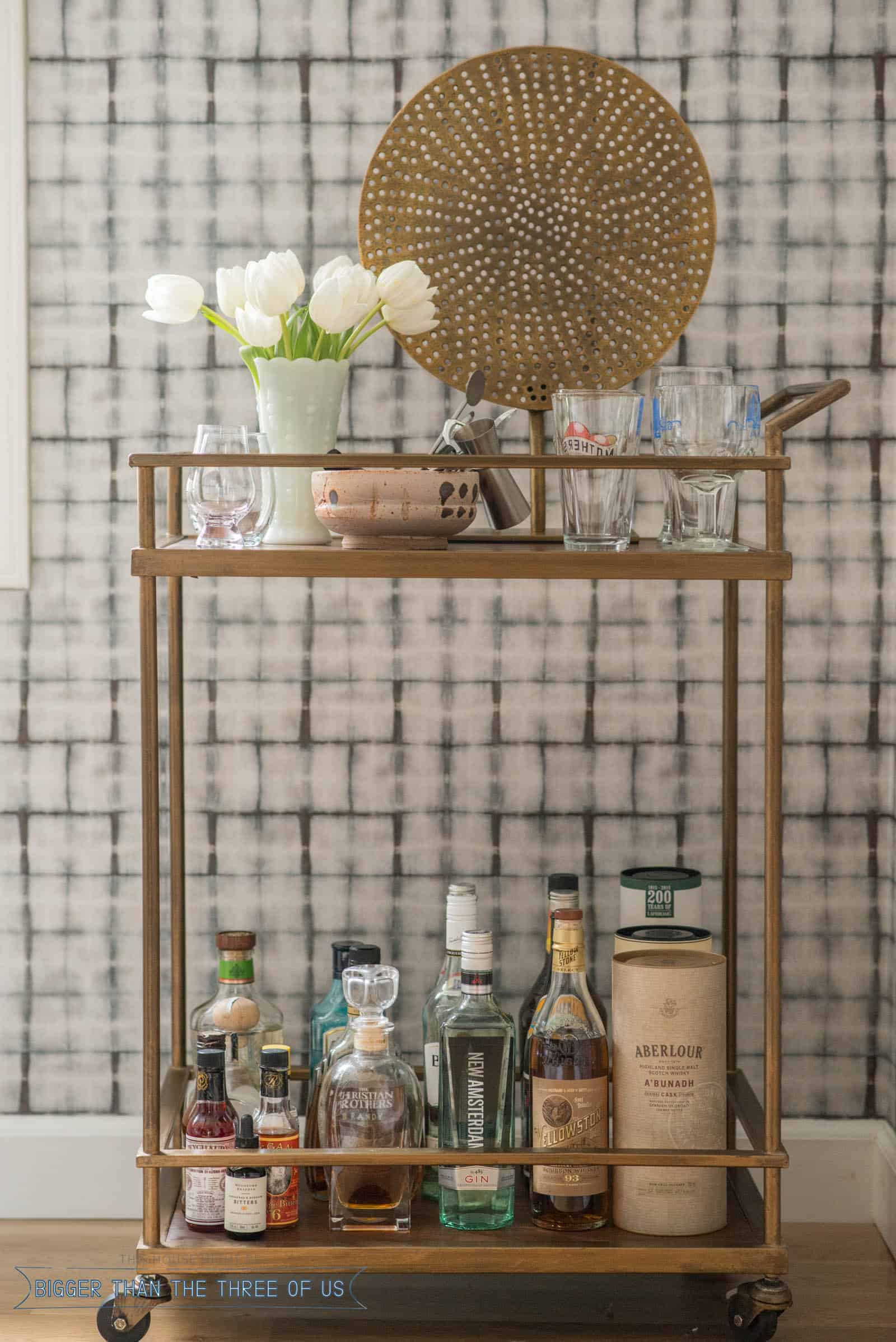 Styled bar cart with flowers