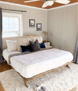 Bedroom with off centered window