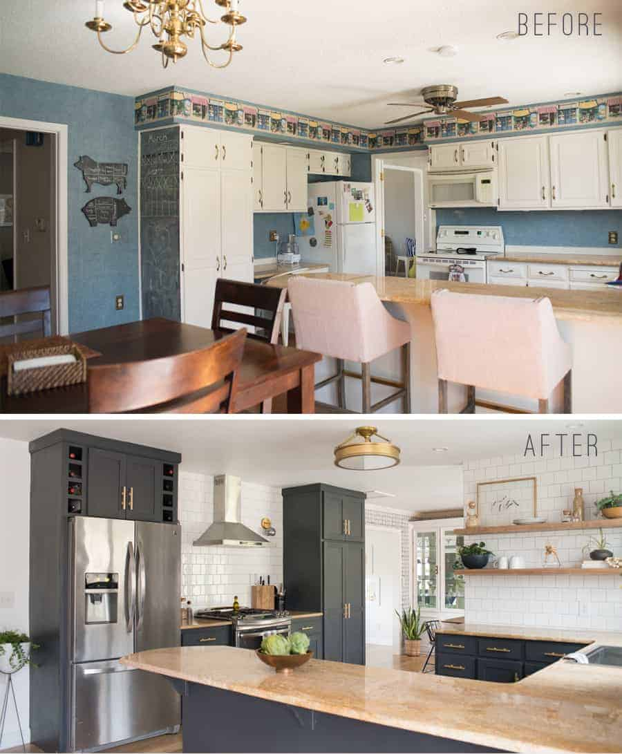 Before and After Kitchen Reveal with DIY Open shelving kitchen