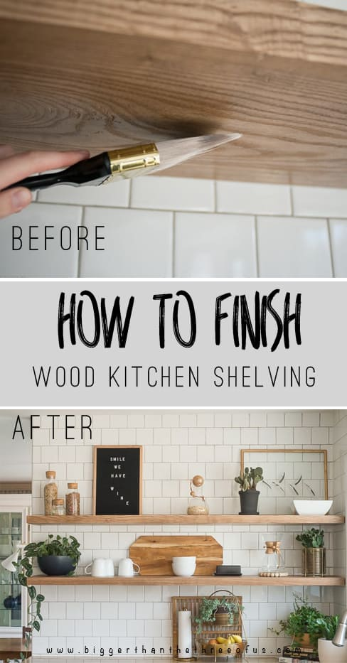 Floating Wood Kitchen Shelves: How to Finish DIY Kitchen Floating Shelves