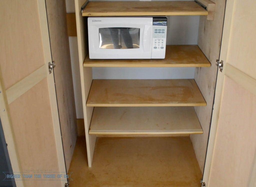 Inside of DIY pantry and custom cabinet doors