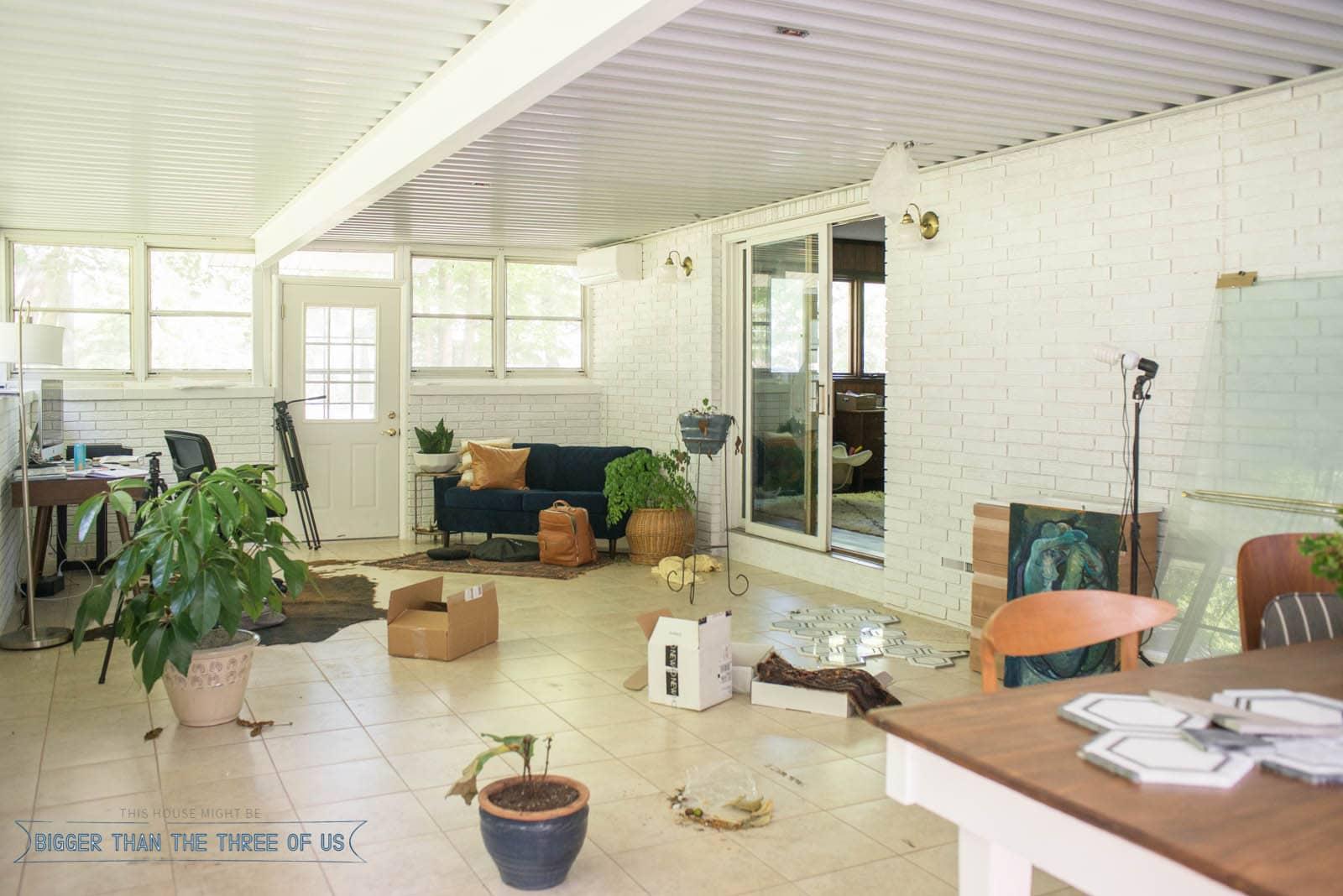 Sunroom turned office - behind the scenes of how it always looks