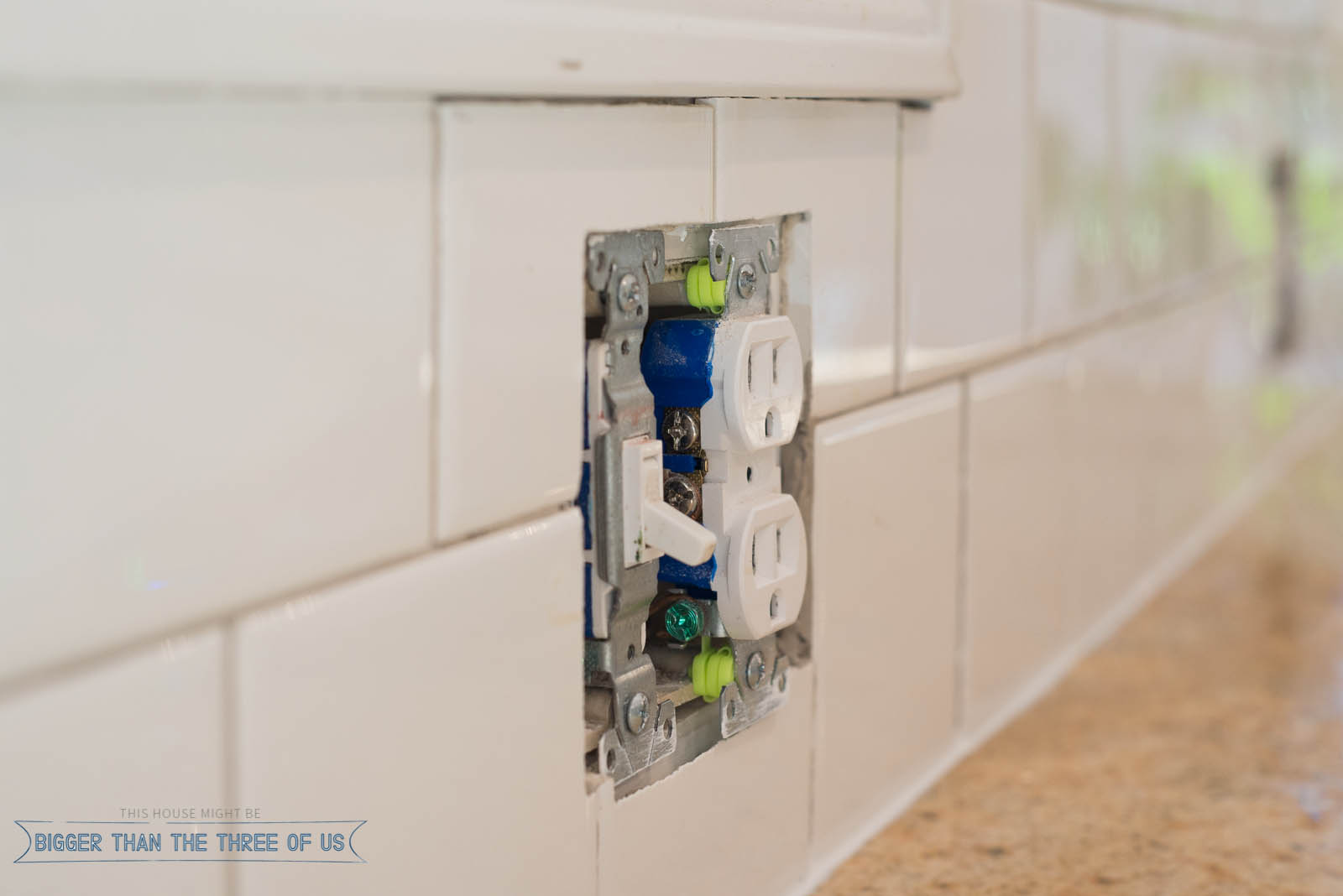 Electrical extenders for tiled wall.