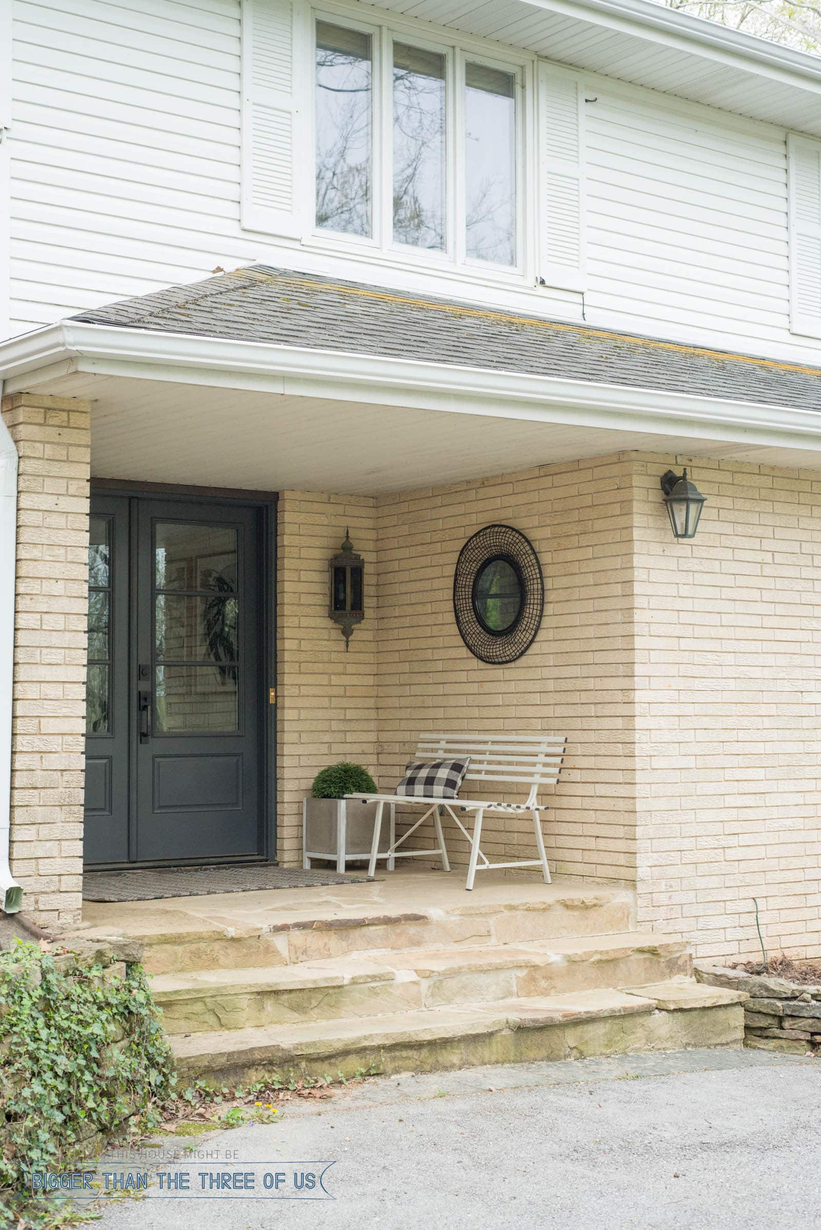 Budget friendly ideas for a modern front porch. BEFORE