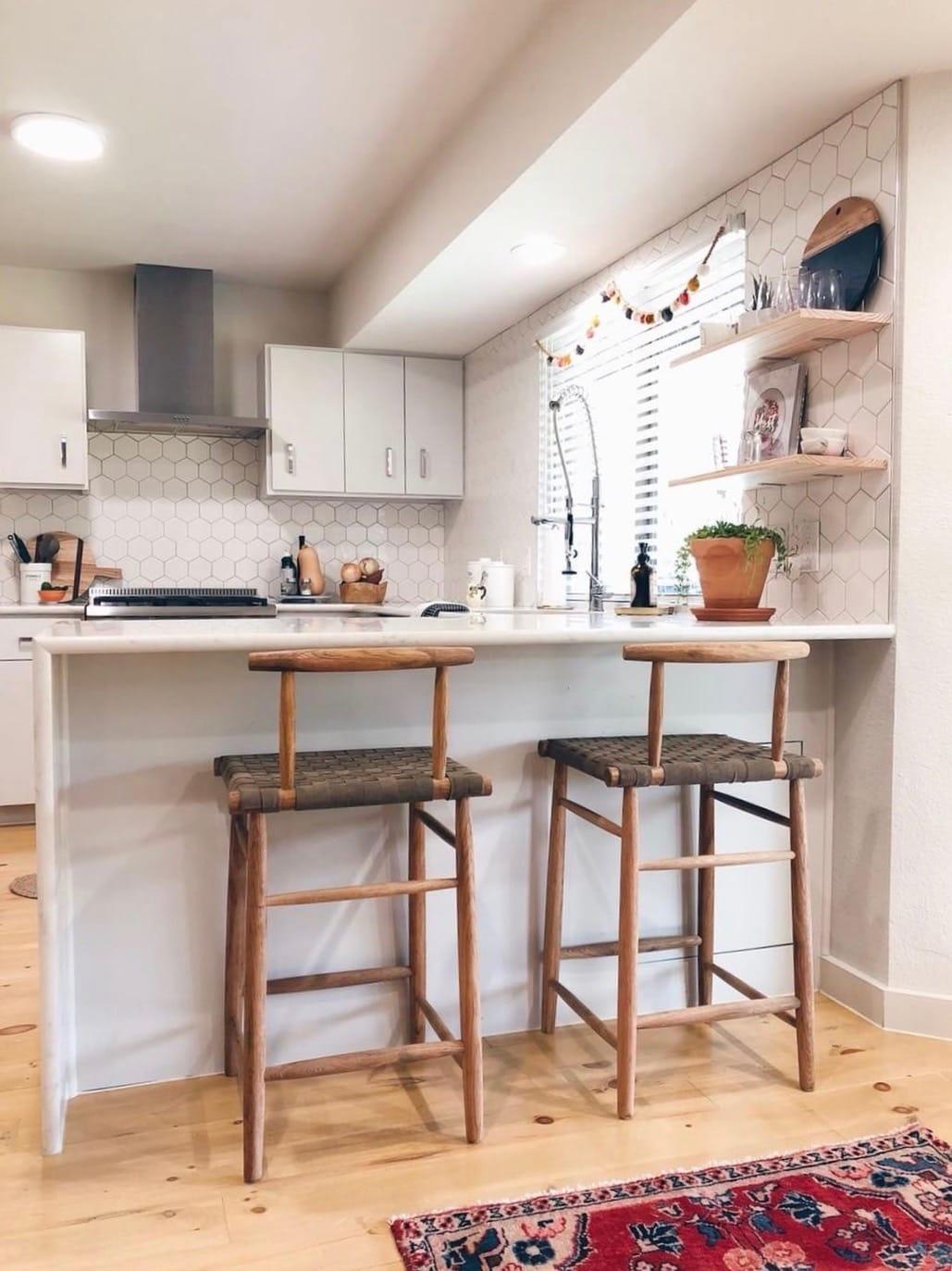 Hanging kitchen shelves in @kaceydurbin house!