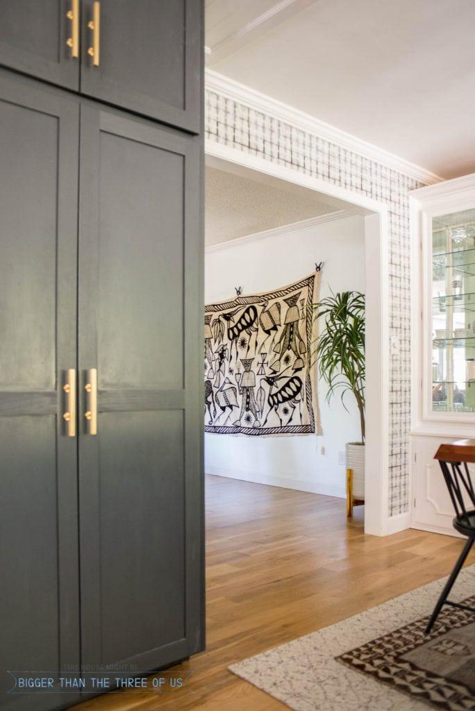 Korhogo Textile Art in Living Room. Hanging oversized art in living.