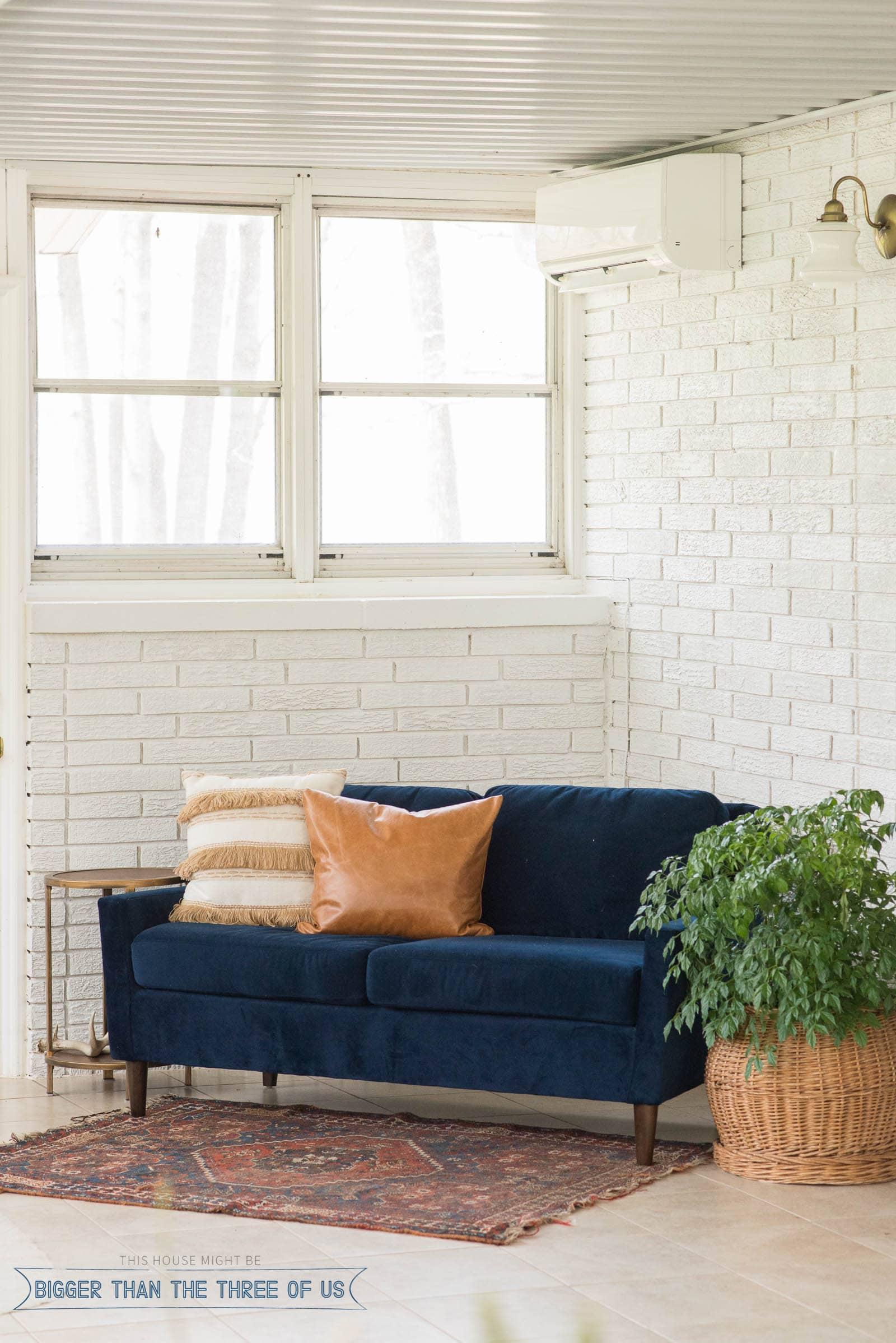 Painting interior brick in the sunroom and adding a mini split