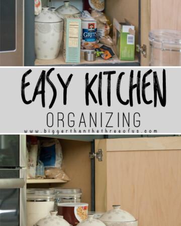 Easy Kitchen Organizing Tips for bottom kitchen cabinets.