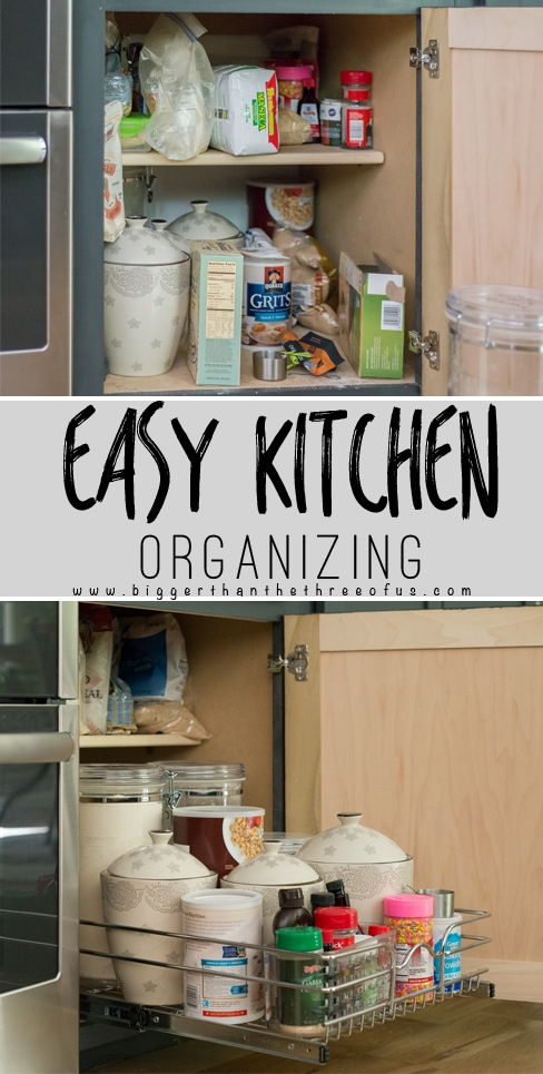 Easy Kitchen Organizing Tips for bottom kitchen cabinets.