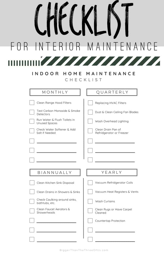 Interior Home Maintenance Checklist