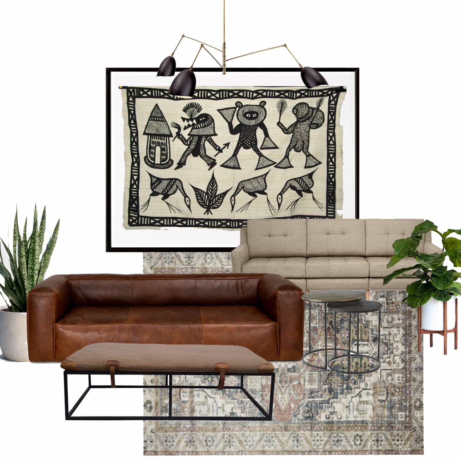 Mid Century Modern Living Room Design Board