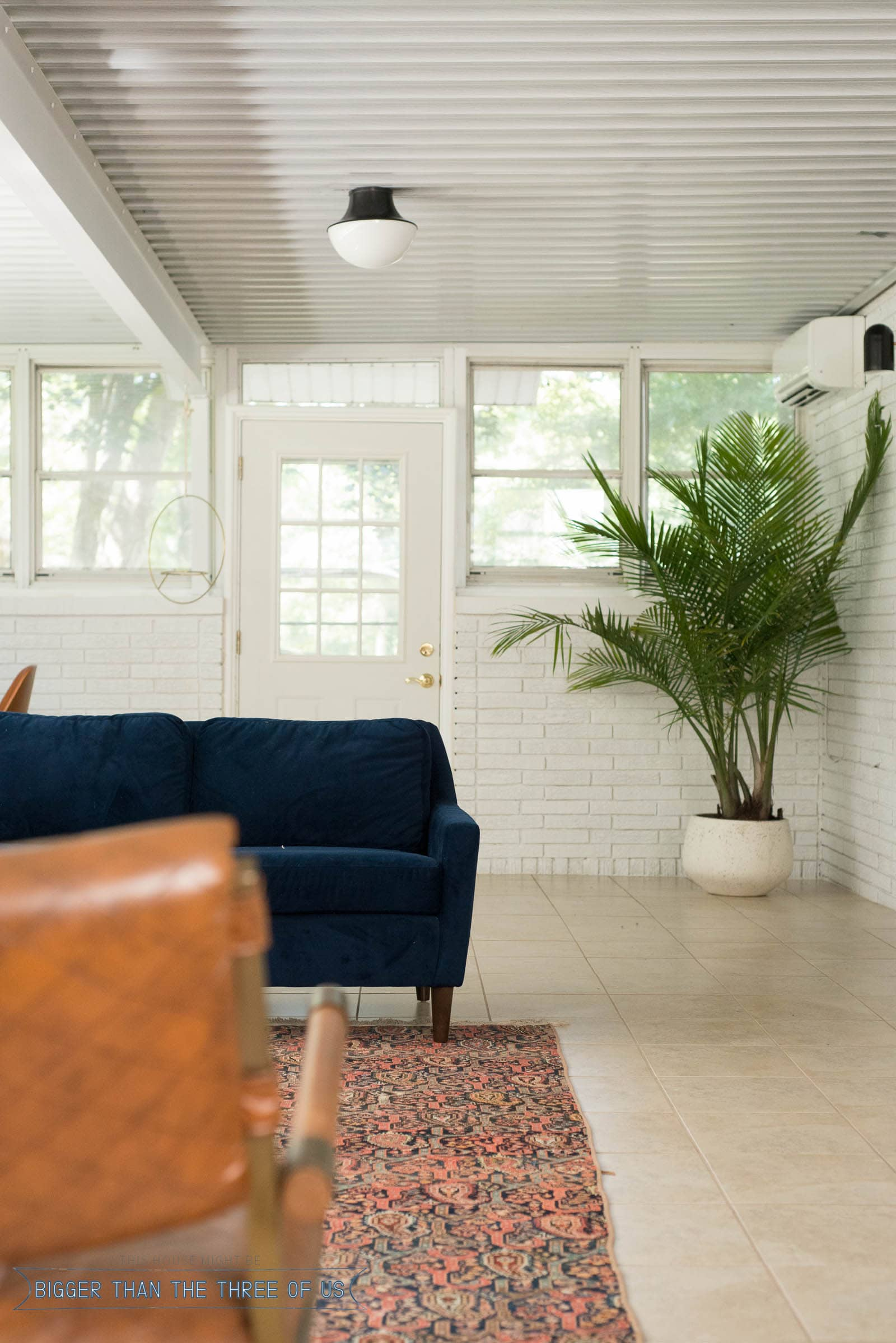 Light and Bright Sunroom Office Addition on the back of the house.
