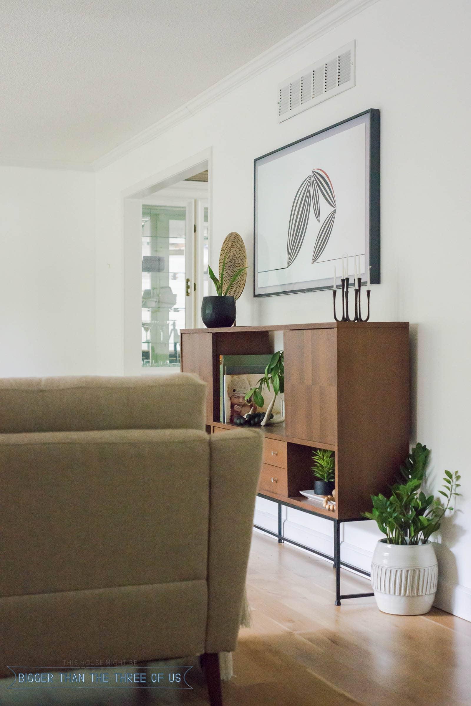 Vintage Modern Living Room with Samsung Frame Tv