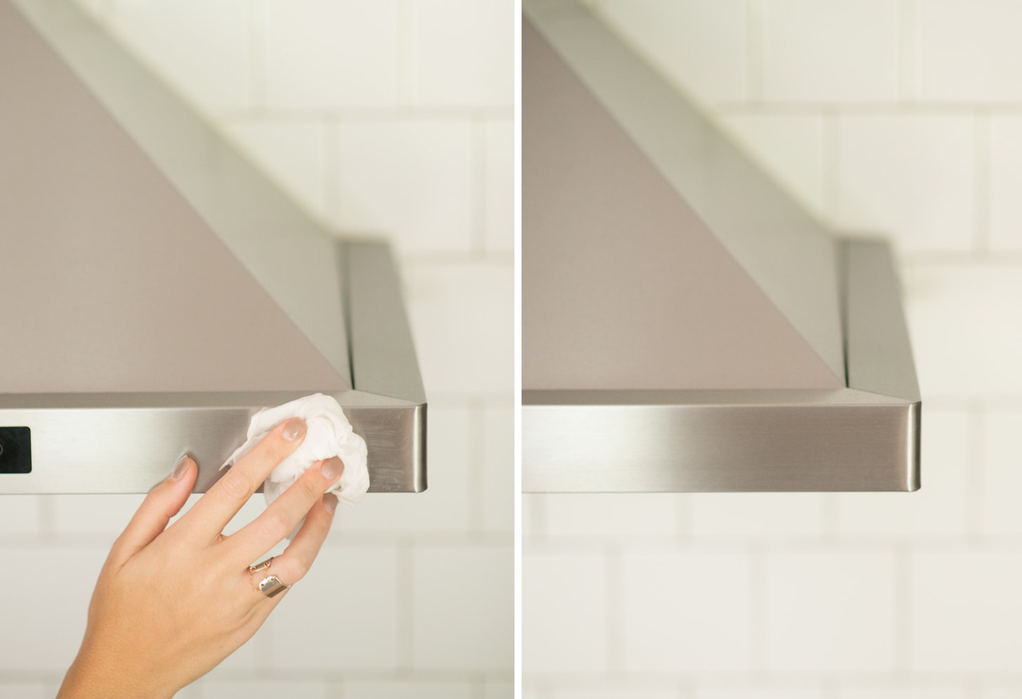 Cleaning the rangehood with Stainless steel products from Weiman