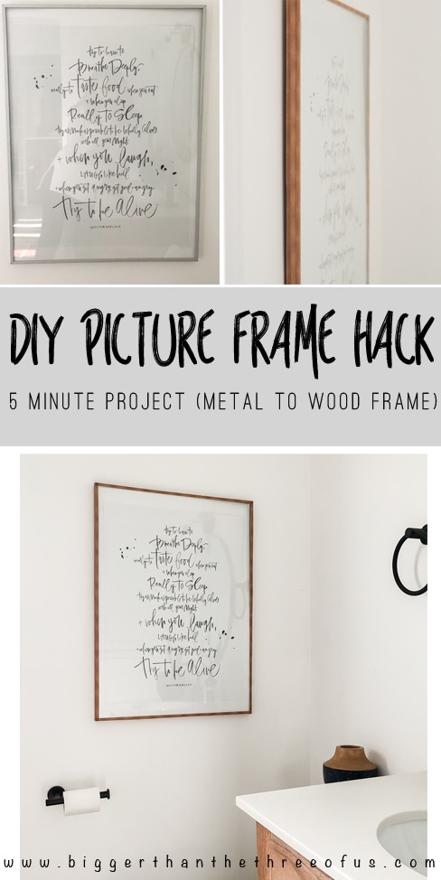 Wood picture frame hack using wood washi tape to transform a metal poster frame to a faux wood poster frame.