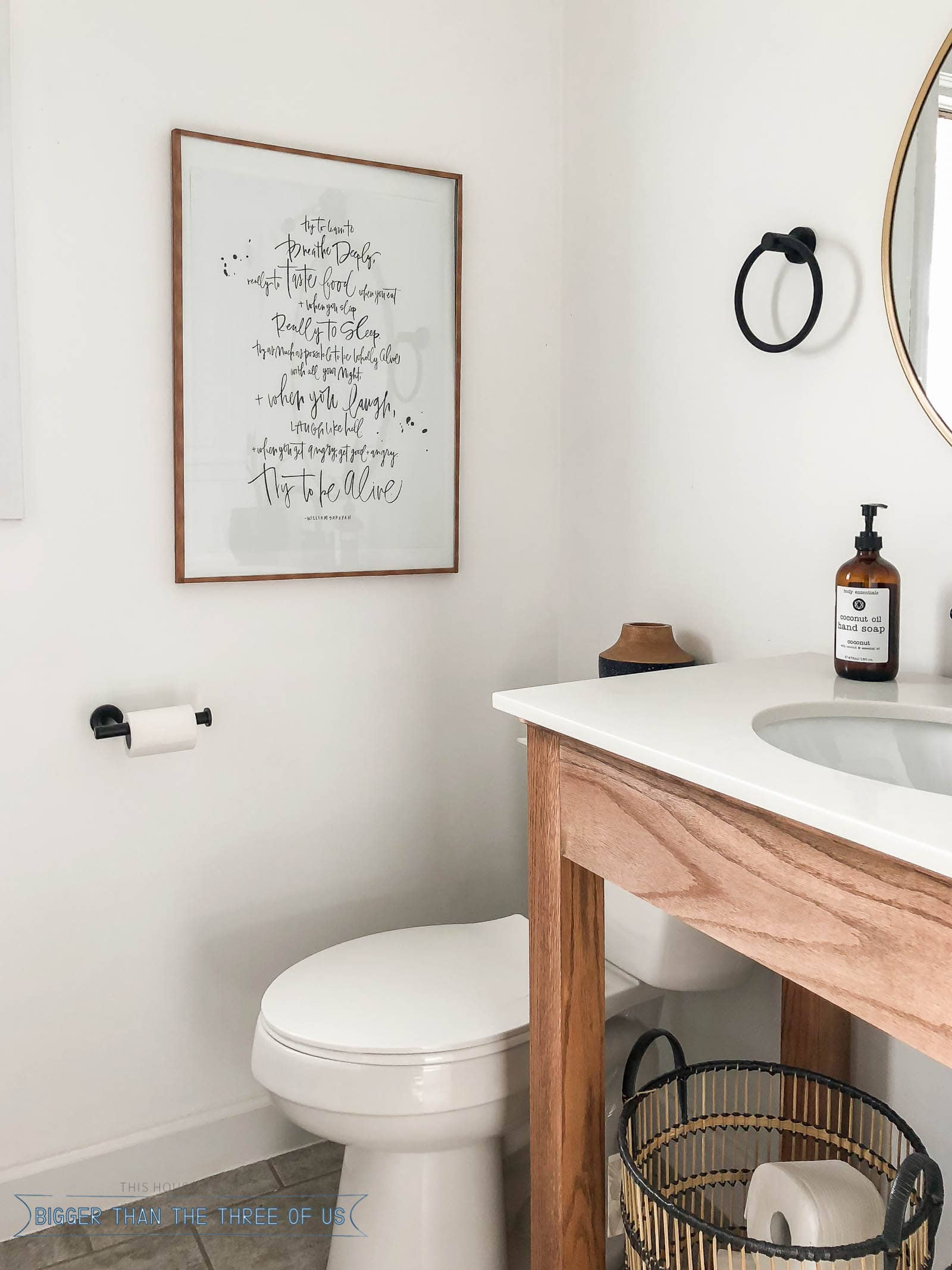 Wood Washi Tape Poster frame in bathroom with a wood vanity and marble white vanity top