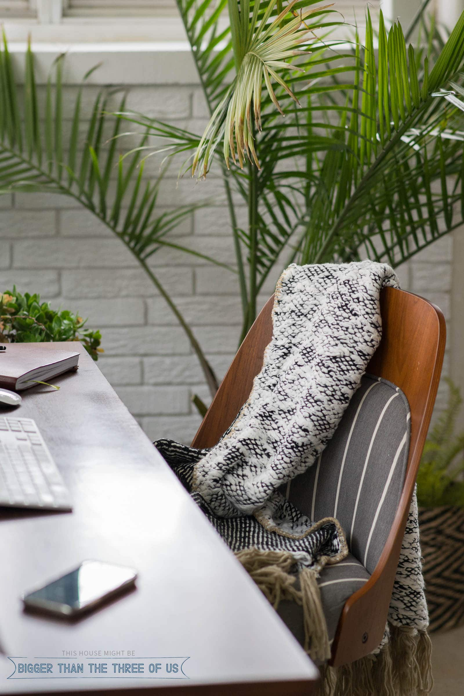 A cozy chunky blanket on office chair with plants in the background.